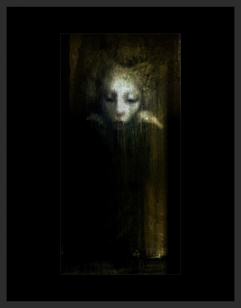 """Sorrow"" is a 4' tall mixed media painting."